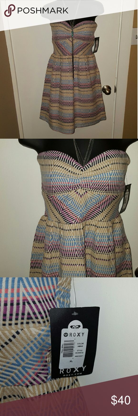 Multicolored striped roxy dress Super cute tube top dress, IN LOVE with the colors. Perfect for summertime. Fits more like a large. Roxy Dresses Mini