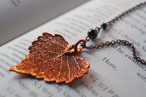 Small Fallen Copper Cottonwood Leaf Necklace. via Etsy.
