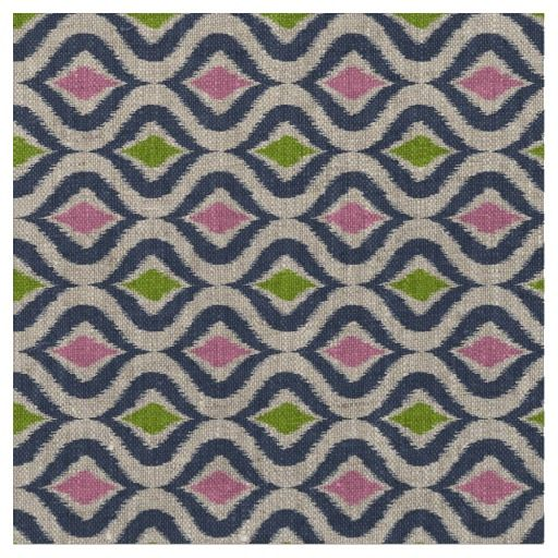 Pink Blue Green Retro Chic Ikat Drops Pattern