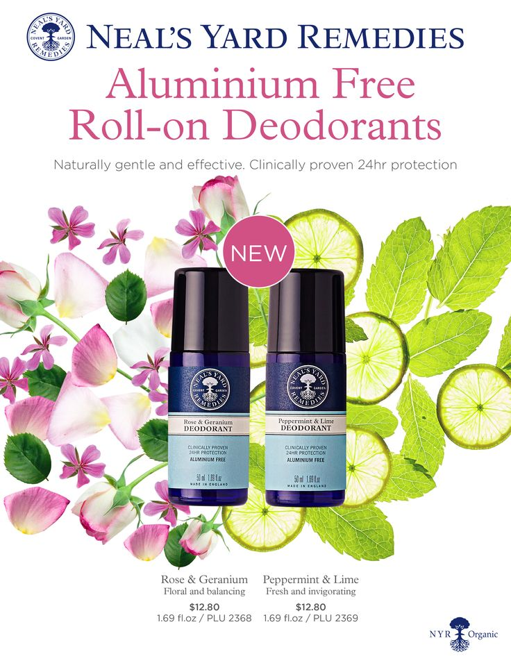 One of the most important products to look at when you are trying to reduce your exposure to toxic chemicals is your deodorant. Neal's Yard Remedies has had a spray on deodorant, but these roll-ons are new. Love the sound of the fragrances: Rose & Geranium and Peppermint & Lime! www.fb.com/nyrosue