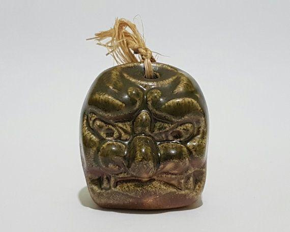 Signed Vintage Japanese Bizen Oni Ogre Noh Mask Clay Dorei Bell Omamori