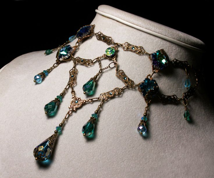 Peacock Blue Green Opal Crystal Choker Necklace Steampunk Jewellery Vintage Victorian Bridal Style.