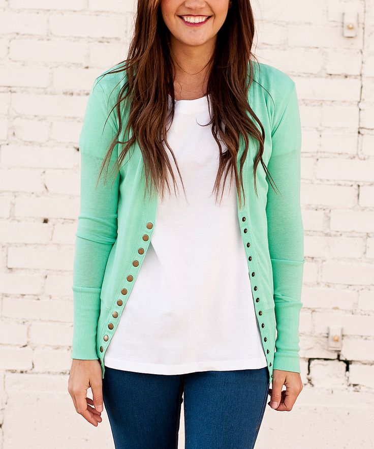 Bella Ella Boutique Spearmint Brass Snap-Up Cardigan | zulily