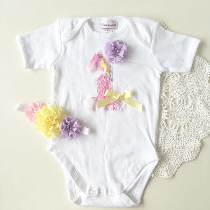 Custom made first birthday princess onesie and matching headband. www.facebook.com/Love2spoil