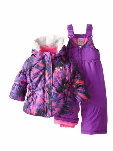 eed8f533a2cd ZeroExposur Infant Girls 2 PC Purple Hooded Jacket   Snow Bibs ...