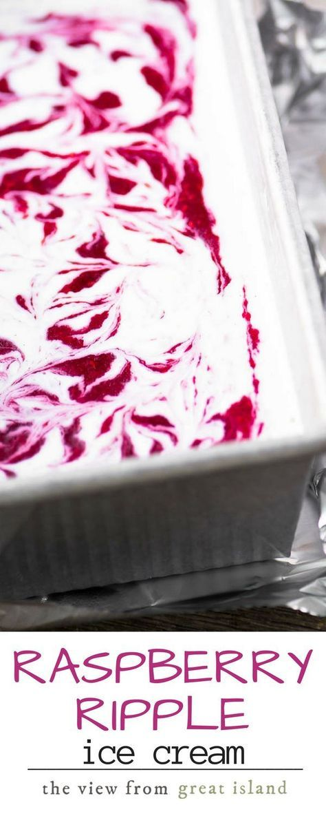 The fresh flavor of my homemade raspberry ripple ice cream just screams summer, and I give you instructions for the machine as well as a no churn recipe! | dessert| gluten free | berries | summer | homemade ice cream