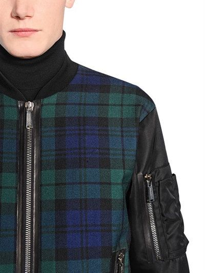 DSQUARED2 - PLAID WOOL FLANNEL & NYLON BOMBER JACKET - GREEN/BLACK