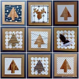 Bekijk de foto van ibala met als titel Kerstkaarten: kaarten gemaakt met o.a. stukjes behangpapier, slagerstouw, veren, verf, ponsstempel en/of houtdecoratie-band. en andere inspirerende plaatjes op Welke.nl.