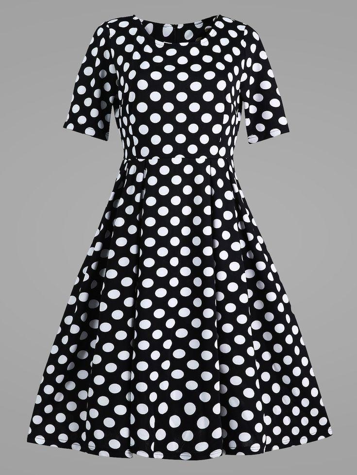Plus Size Polka Dot Vintage Dress with Pockets - BLACK 5XL
