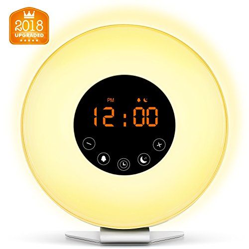 Wake Up Light Digital Alarm Clock with Sunrise Simulation - 6 Nature Sounds  FM Radio 7 Colors Switch Sunset Fading Night Light for Bedside and Kids Digital Clock for Heavy Sleepers