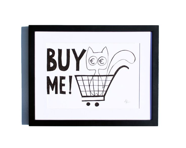 Fineliner – Drawing handmade 20x30cm: Cat in the shopping cart – a unique product by ARTandCAT on DaWanda