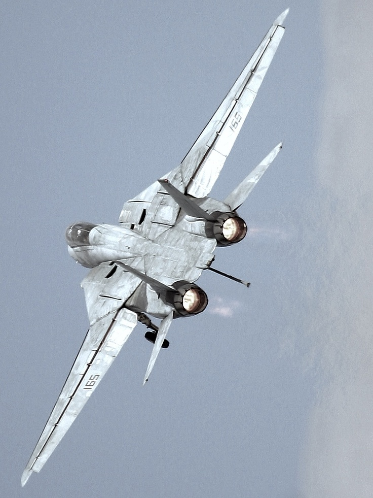 F-14 Tomcat, leaving it's floating runway below, as it proceeds on it's mission.