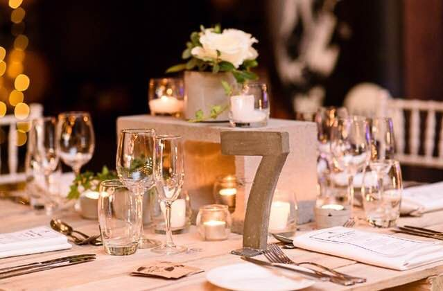 Concrete table numbers and centrepieces