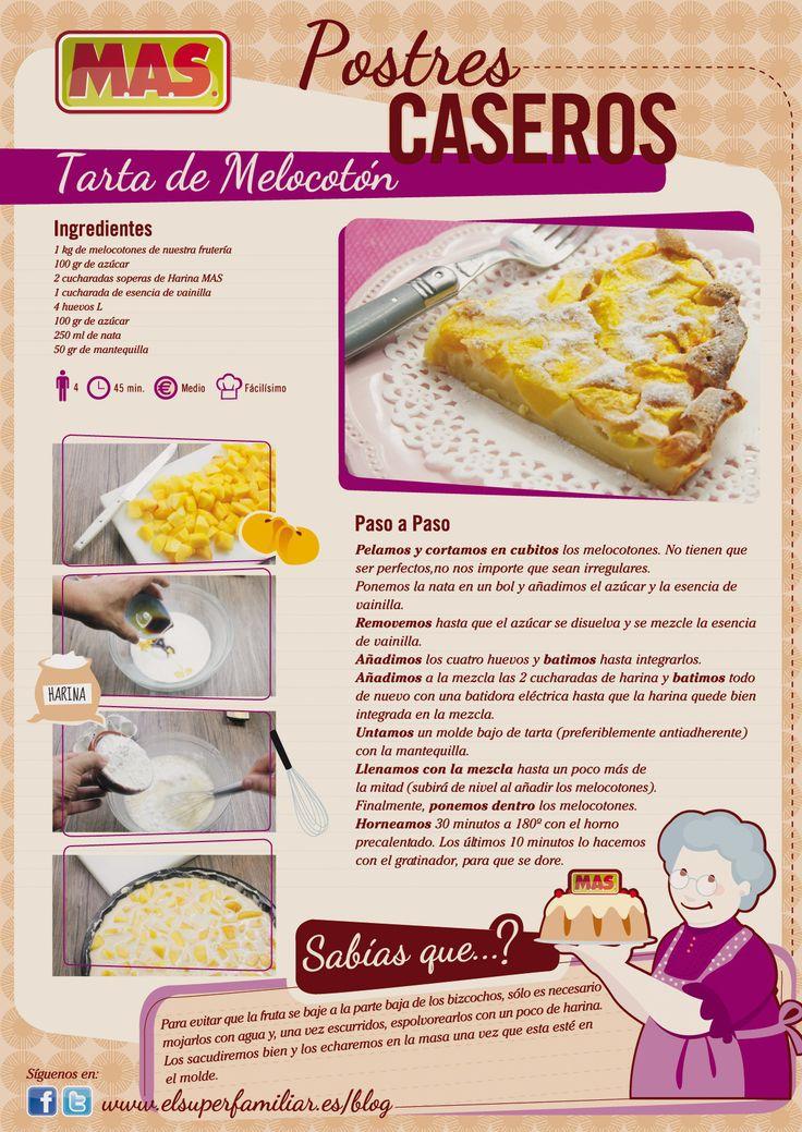 #Receta Tarta de #Melocoton MAS. #InfoReceta. #Infografia. #Recipes #Infographic #Infografía #Tartas #Recetas