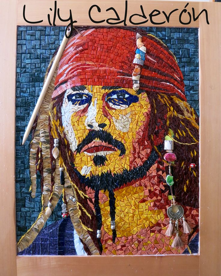 Jack SParrow. Mosaico realizado en venecitas Kolorines