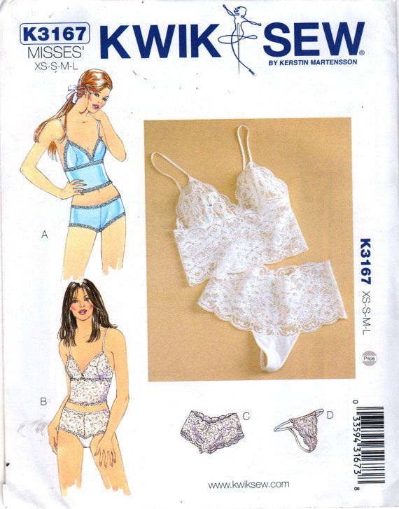 Kwik Sew 3167 Misses Easy Lingerie Close Fitting Lace Bra Camisole Panties Thony or Boy leg womens sewing pattern and by mbchills