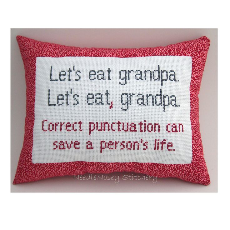 Funny Cross Stitch Pillow, Funny Quote, Red and Gray Pillow, Punctuation Quote. $20.00, via Etsy.
