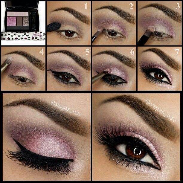 Augen-Make-up - Braune Augen lila geschminkt - Bildanleitung
