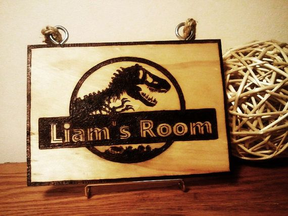Dinosaur bedroom sign for kids  Jurrasic Park by TheShedSign