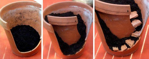 DIY Fairy Garden made from Ceramic pots, I Gotta try this sometime! =)  http://www.boredpanda.com/broken-pot-fairy-garden/