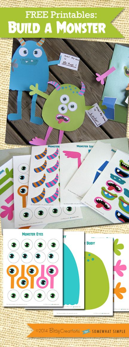 Build A Monster FREE Printable from BitsyCreations for Somewhat Simple - a fun activity idea for learning parts of the body! #preschool #efl #education (repinned by Super Simple Songs)