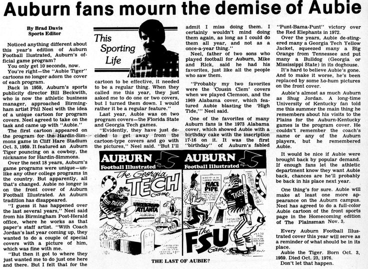 This image was taken from the 1977 Plainsman newspaper article written by Brad Davis. I choose to use this newspaper article as a example within my cultural artifact research paper to show how the public and study body felt during the time when the football program took away their Aubie covered football programs. The uproar caused by the football programs being changed was what pushed for a real-life Aubie mascot to be created.