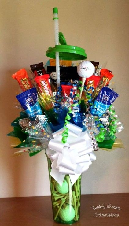 Candy bouquet for someone who likes to golf