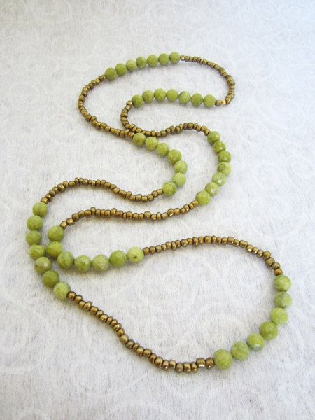Beaded necklace, Long Beaded necklace, Bohemian necklace, green Agate necklace