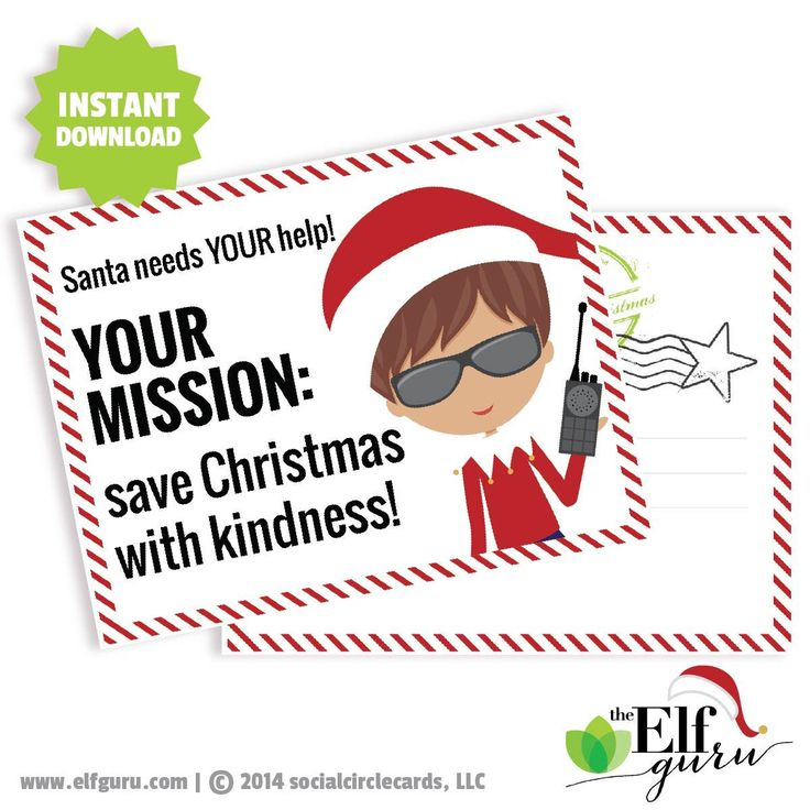 Elf Mission Kindness Postcard // Kids Kindness Challenge // A Printable Elf File // INSTANT DOWNLOAD // C-S11 ZZ6 by PaperRamma on Etsy https://www.etsy.com/listing/207420987/elf-mission-kindness-postcard-kids