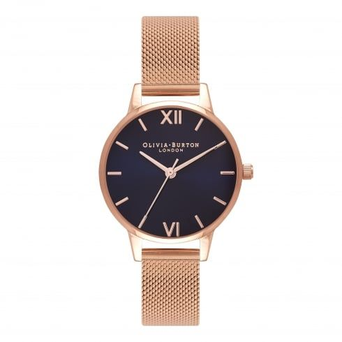 Midi Midnight Dial Rose Gold Mesh  -  from Olivia Burton UK