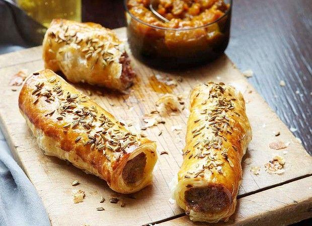 Luke Mangan's pork and fennel sausage rolls with green tomato chutney.