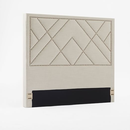 Patterned Nailhead Upholstered Headboard - King, Linen Weave, Natural