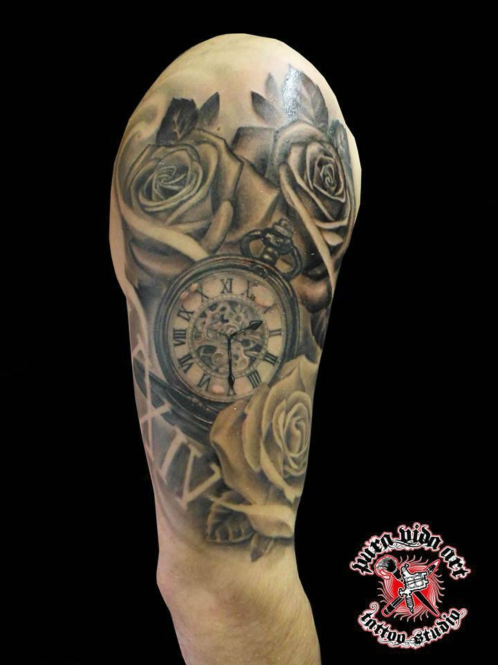 Tattoo clock, negative, roses, Family.