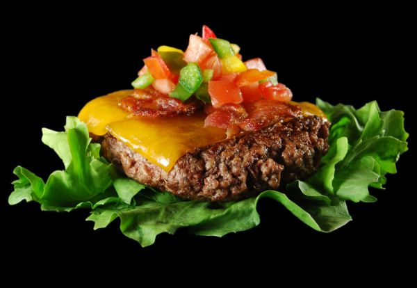 Salsa Burger Recipe. Lean burger topped with uncured bacon, cheddar and fresh salsa. Enjoy on #NationalBurgerDay