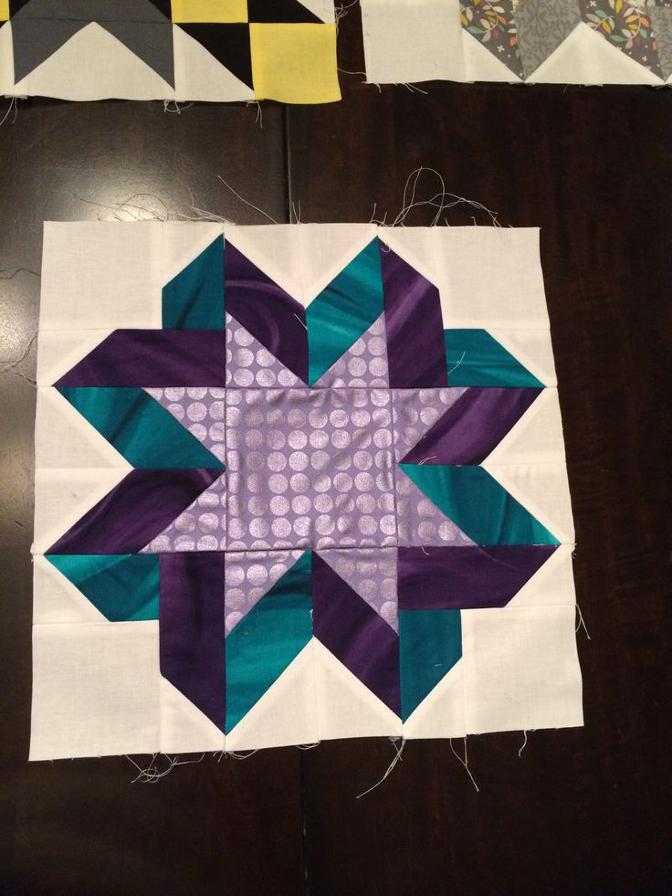 Quilt block I made for the #truenorthbee ribbon star block