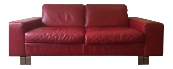 Natuzzi Italian Red Leather Loveseat on Chairish.com