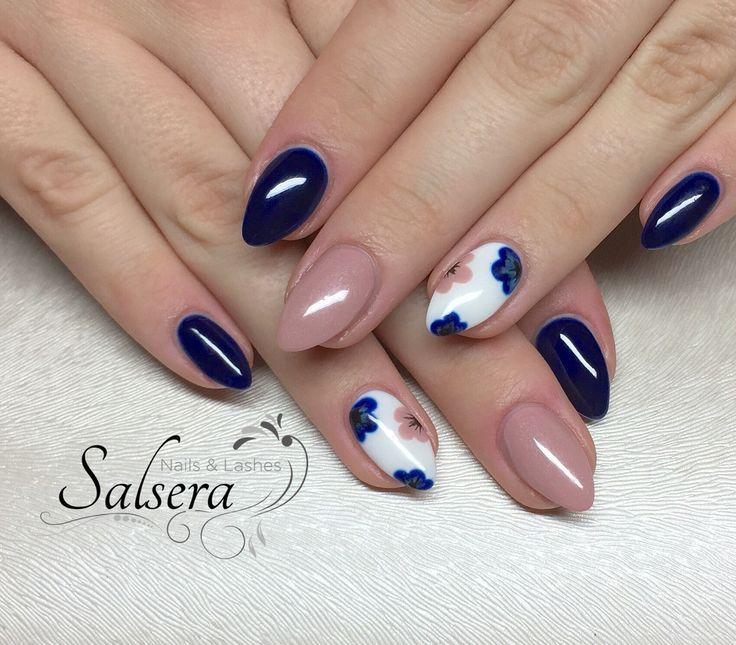 Nägel, Nägel, blau, blau, beige, nackt, fullcover, Blumen – Nägel