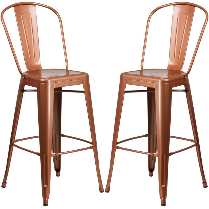 Copper Metal Bistro-style Bar Stool (2 Stools), Brown
