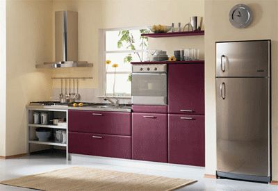 Wine Kitchen Colors, Modern Kitchens Color Combinations - how to balance the frightening burgundy and cream tile work in the kitchen - taupe? light green?