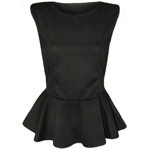 Jennelle Plain Peplum Sleeveless Top ($13) ❤ liked on Polyvore featuring tops, black, going out tops, sleeveless peplum top, party tops, party tank tops and sleeveless tops