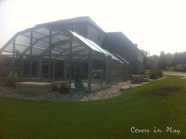 | Pool Cover | Pool Enclosure | The heat from the sun and the water will keep the enclosure at a comfortable temperature. In Canada it is necessary to have additional heat source using our hydronic floor design and air exchanger.