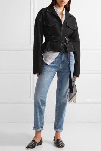 Jimmy Choo - Globe Studded Leather Flats - Black - IT36.5
