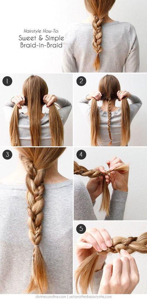 Sweet And Simple Braid In Braid Hair Tutorial beauty braid long hair braids diy hair hair tutorial hairstyles hair tutorials easy hairstyles