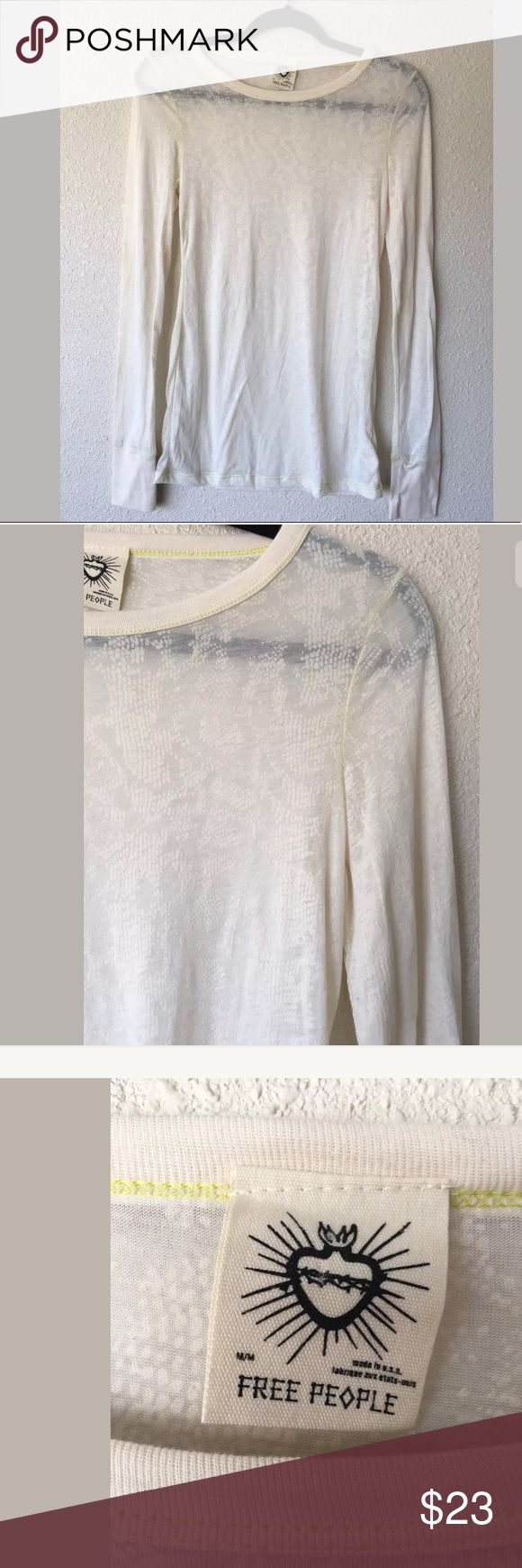 Free People long Sleeve sheer Tshirt Free People long Sleeve sheer Tshirt, snake skin light print, cream colored, size m, great condition, please feel free to make an offer (: Free People Tops Tees - Long Sleeve