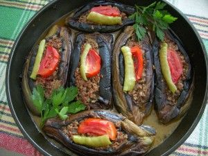 """Stuffed eggplant -Karniyarik    I  learned this """"certified Turkish"""" recipe from my mum: Karnıyarık which literally translates as """"split belly"""". It is widely made and dearly loved almost in every part of Turkey.  It is absolutely fantastic eggplant dish…"""
