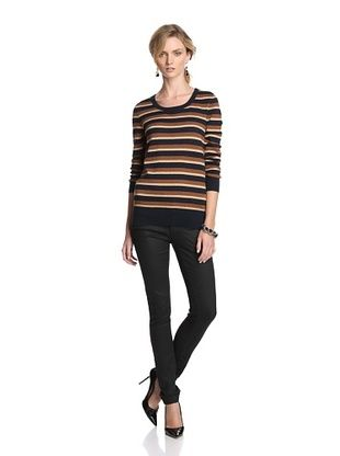 French Connection Women's Glam Glitter Stripe Sweater (Twinkle/Tabby/Gold)