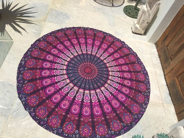 ☾❂☽  Roundie Purple Haze Peacock Mandala ☾❂☽ www.thirteenblessings.bigcartel.com