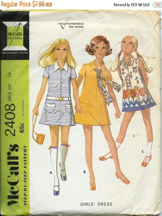 De venta Vntg McCall 2408 niñas vestido patrón tamaño 14 de 1970