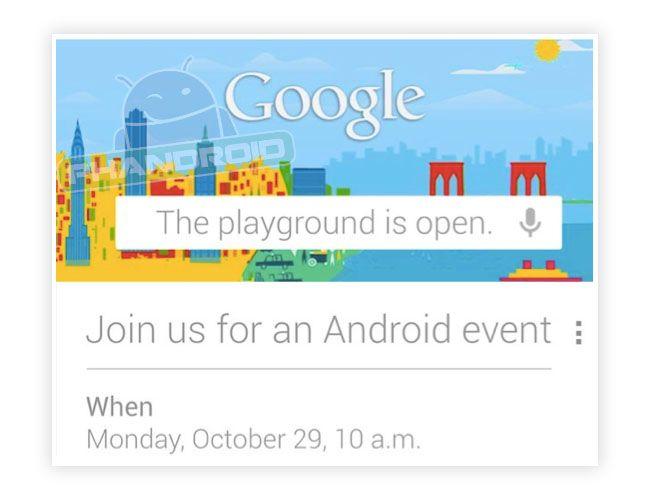 Google confirma un evento para el 29 de octubre donde se podría presentar una nueva versión de Android  http://www.genbeta.com/p/72204