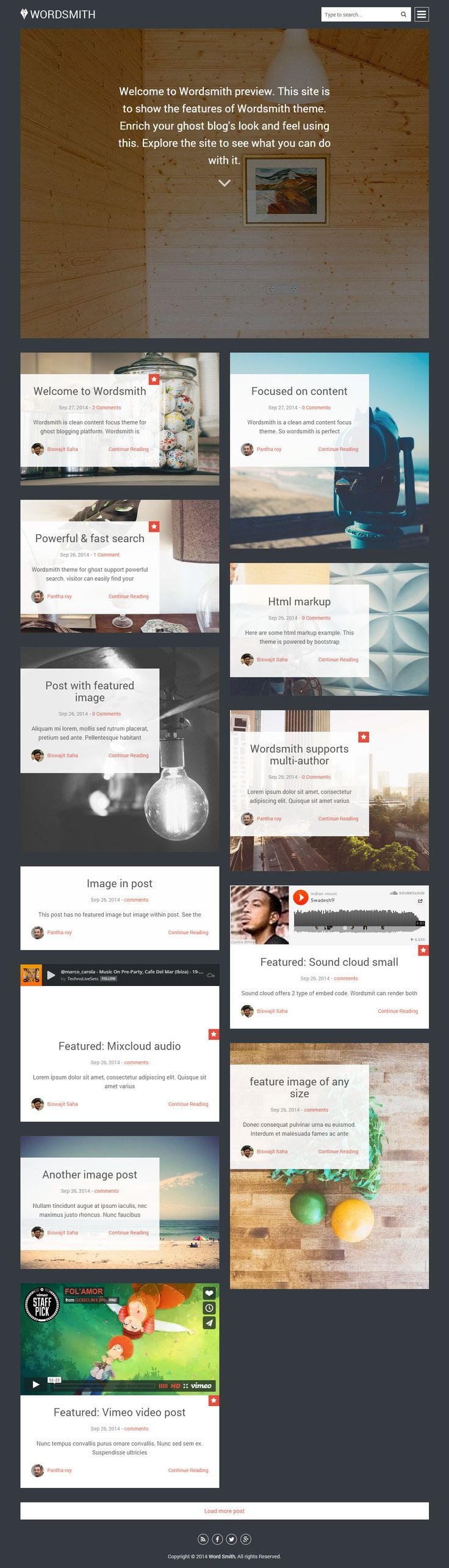 Wordsmith is Premium full Responsive Ghost Blog Theme. Flat Design. Masonry layout. Retina Ready. Bootstrap Framework. http://www.responsivemiracle.com/cms/wordsmith-premium-responsive-masonry-style-ghost-theme/